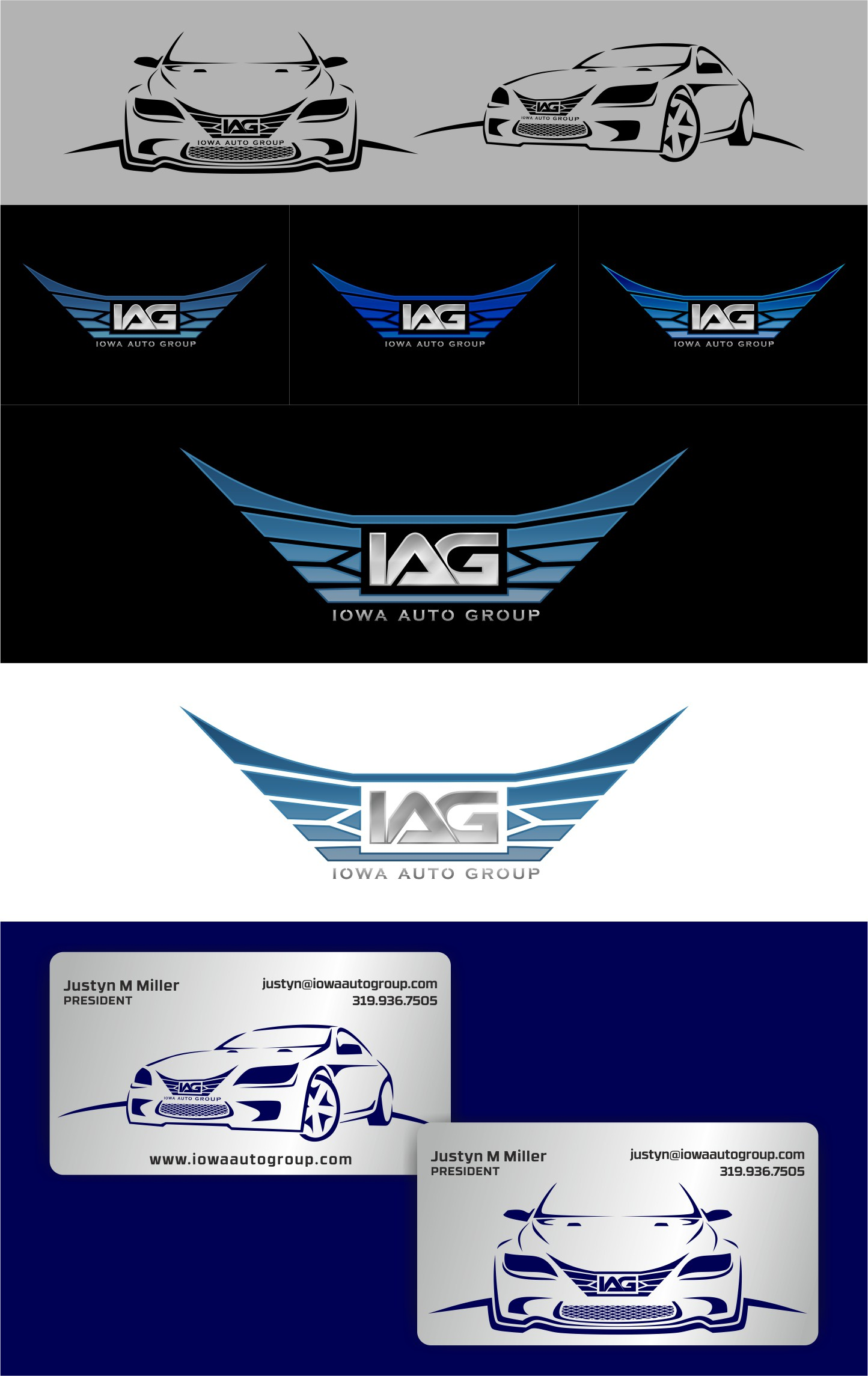 Logo and metal business card for Iowa Auto Group