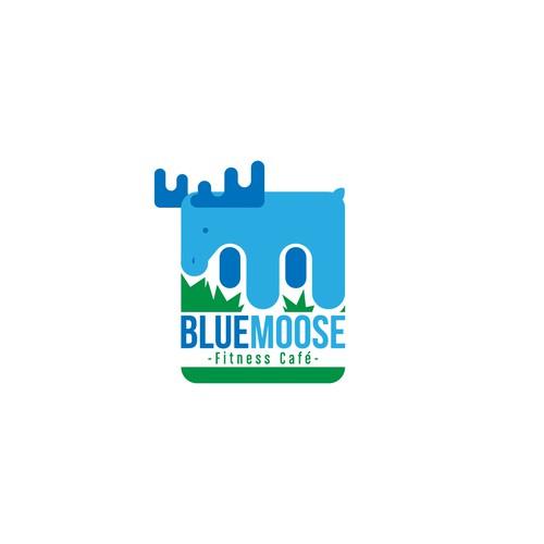 Create a Restaurant Logo for the Blue Moose Cafe