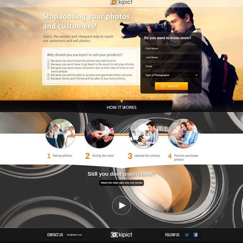 New landing page for kipict, a site for photographers to sell photos taken at events!