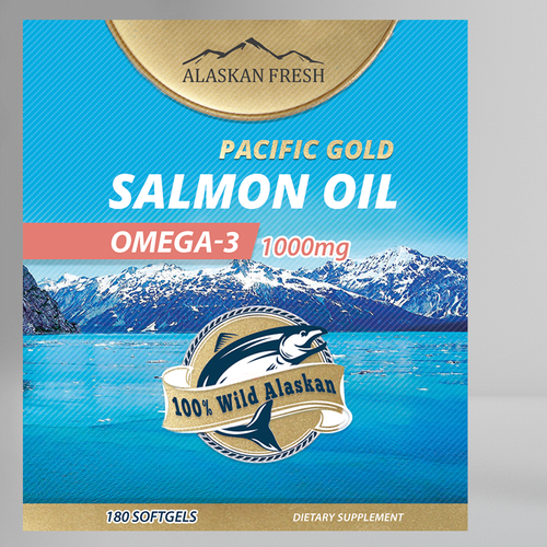 Salmon Oil Supplement Label Artwork Design