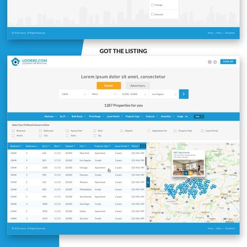 Rental website design