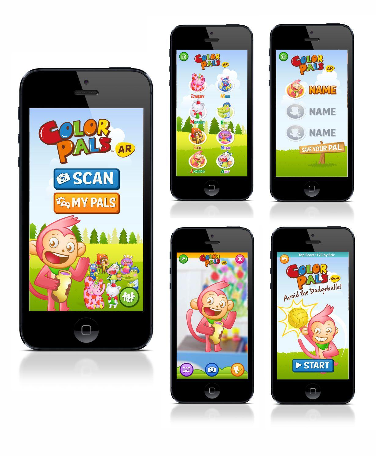 Children AR app UI/VI design - animal characters themed