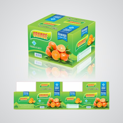 An Orange boxes design for our exporting fruits & vegetables subsidiary company.