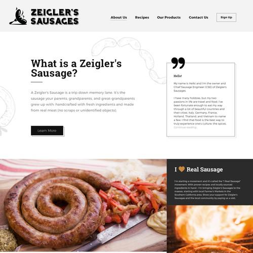 New website design for Zeigler's Sausages