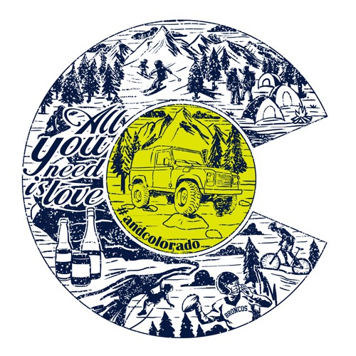Design an illustrated Travel & Colorado Shirt
