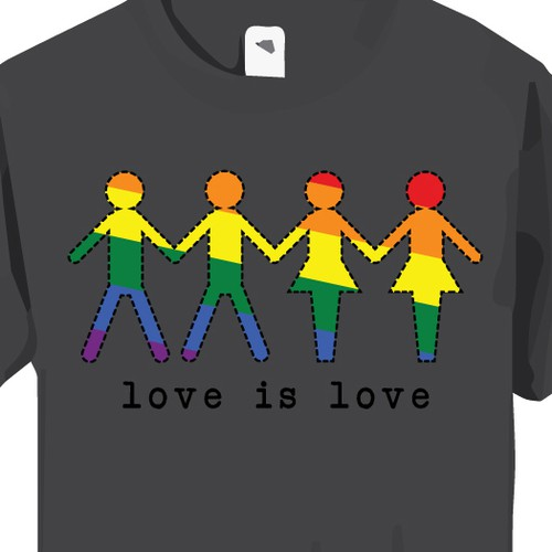 Simple bright shirt design celebrating love
