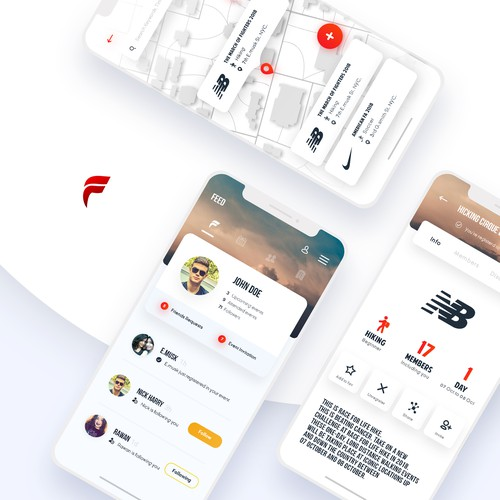 App design for Featseo, a social and sporting platform.