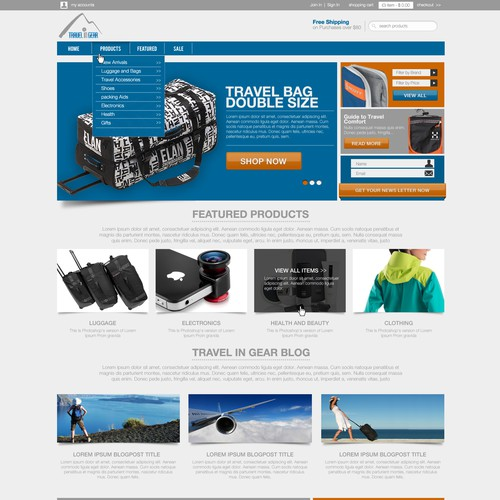 Homepage Design for Ecommerce Company - Travel Gear Seller