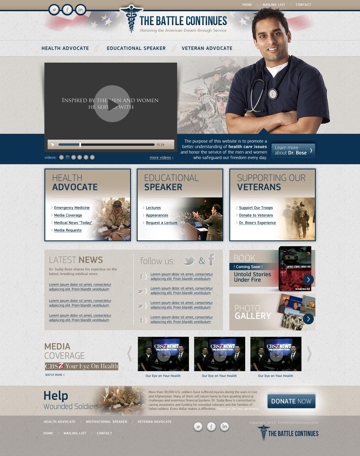 website design for TheBattleContinues.org
