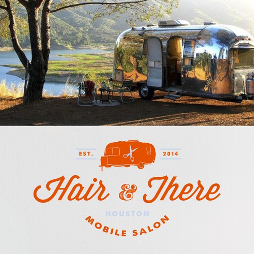 Create a logo for an exciting new metropolitan mobile hair salon business housed in a vintage Airstream!