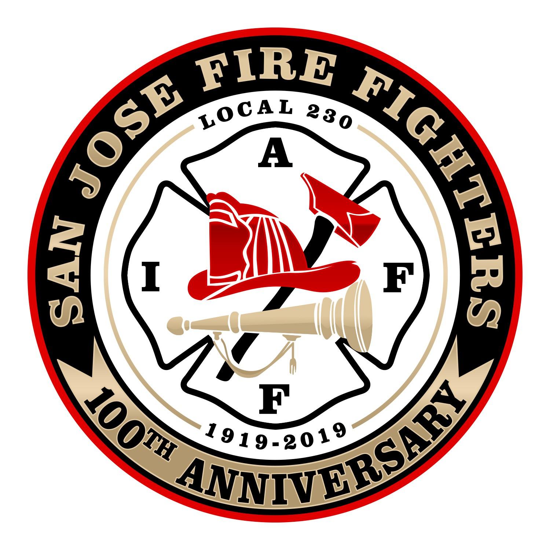 San Jose Fire Fighter's 100th Anniversary Logo