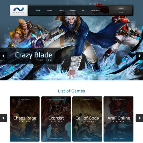 Design the future's best MMO Games Portal page!