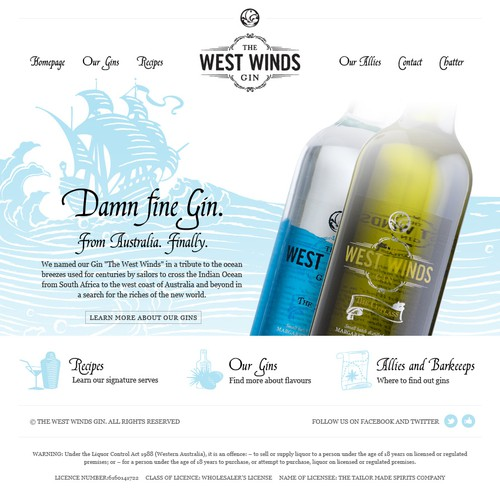 The West Winds Gin needs a new website design