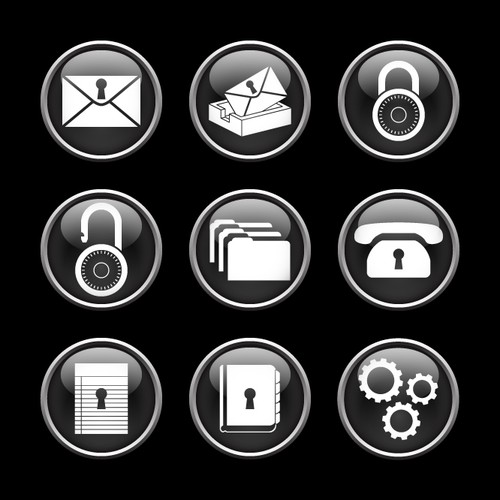 Phone security icon set