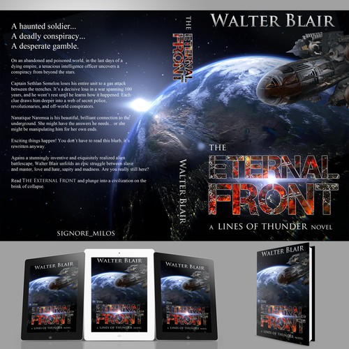 """Entry design for Book Cover contest """"The eternal front"""" by Walter Blair"""