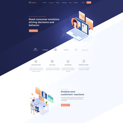Emotion analytics SaaS platform website design