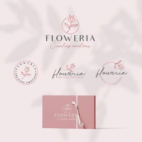 feminine logo for flower shop