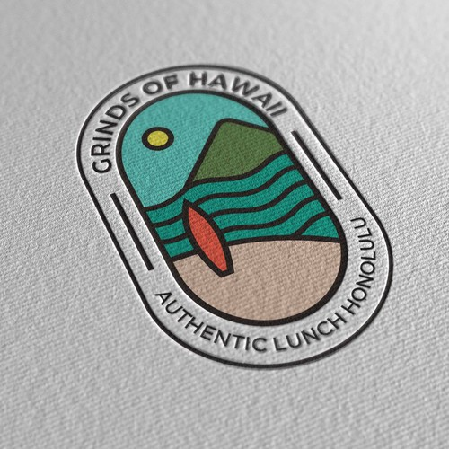Logo design concept for a Hawaiian beach themed casual restaurant named Grindz of Hawaii