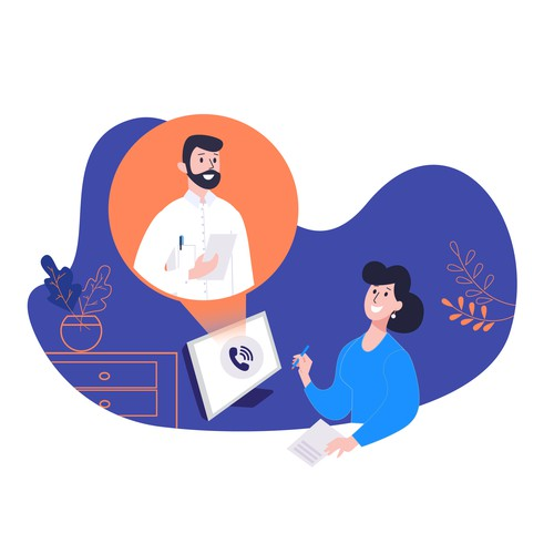 Online consulting illustration
