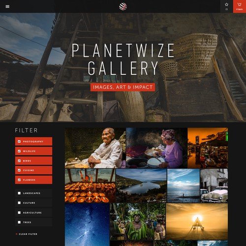 Landing page for photostock Planetwise