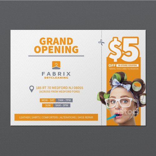 Bold, Chic and Casual Postcard design for Drycleaners Opening