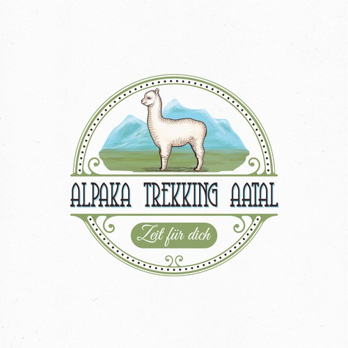 Logo for a company that does trekking with alpacas