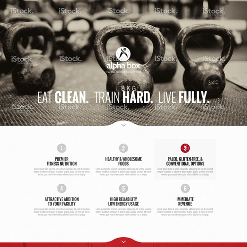 Create a beautiful one page lead gen site for an awesome fitness nutrition company.