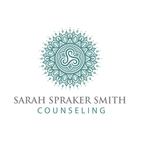 A mandala style logo design for therapist in private practice in North Carolina.