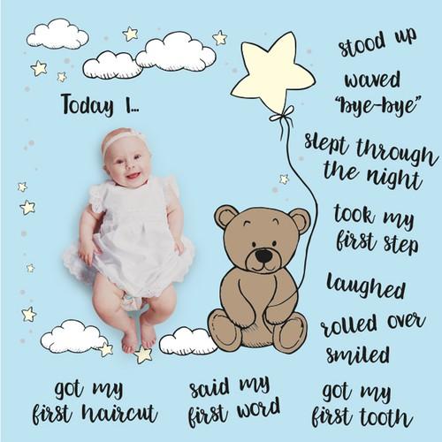 Cute baby milestone blanket