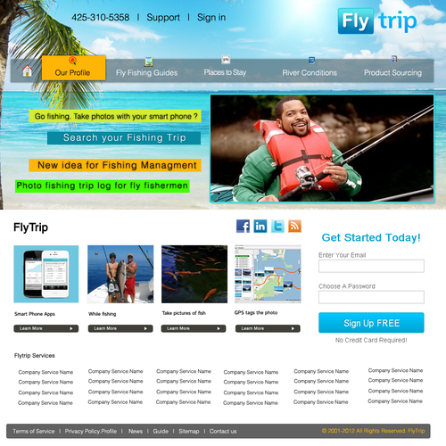 Create the next website design for FlyTrip