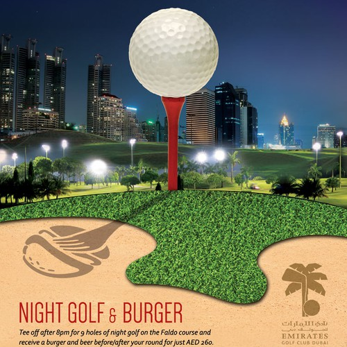Create a burger and night golf design