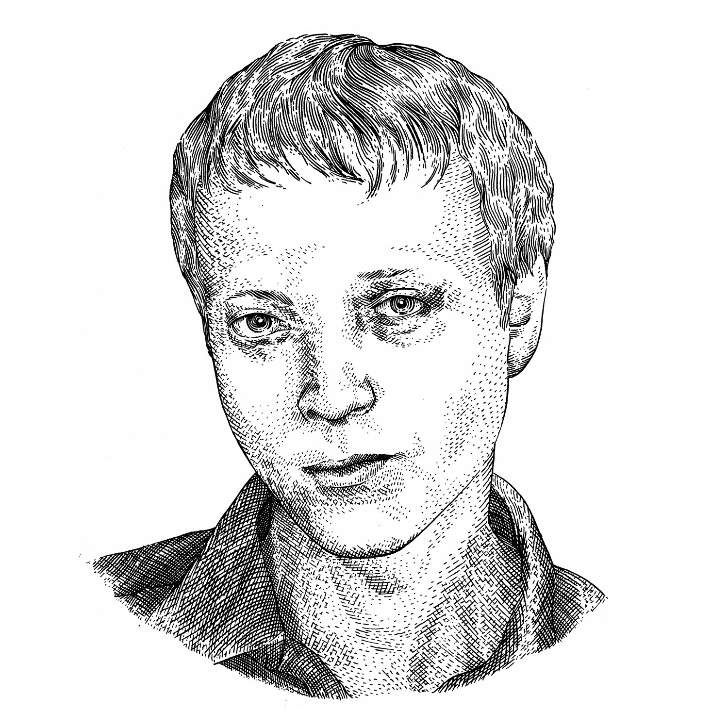 Hedcut illustration of an author