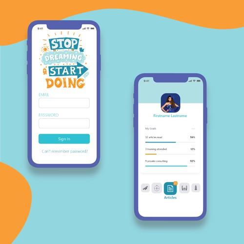 Mobile app design for coaching app