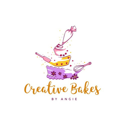 Creative and happy bakery logo