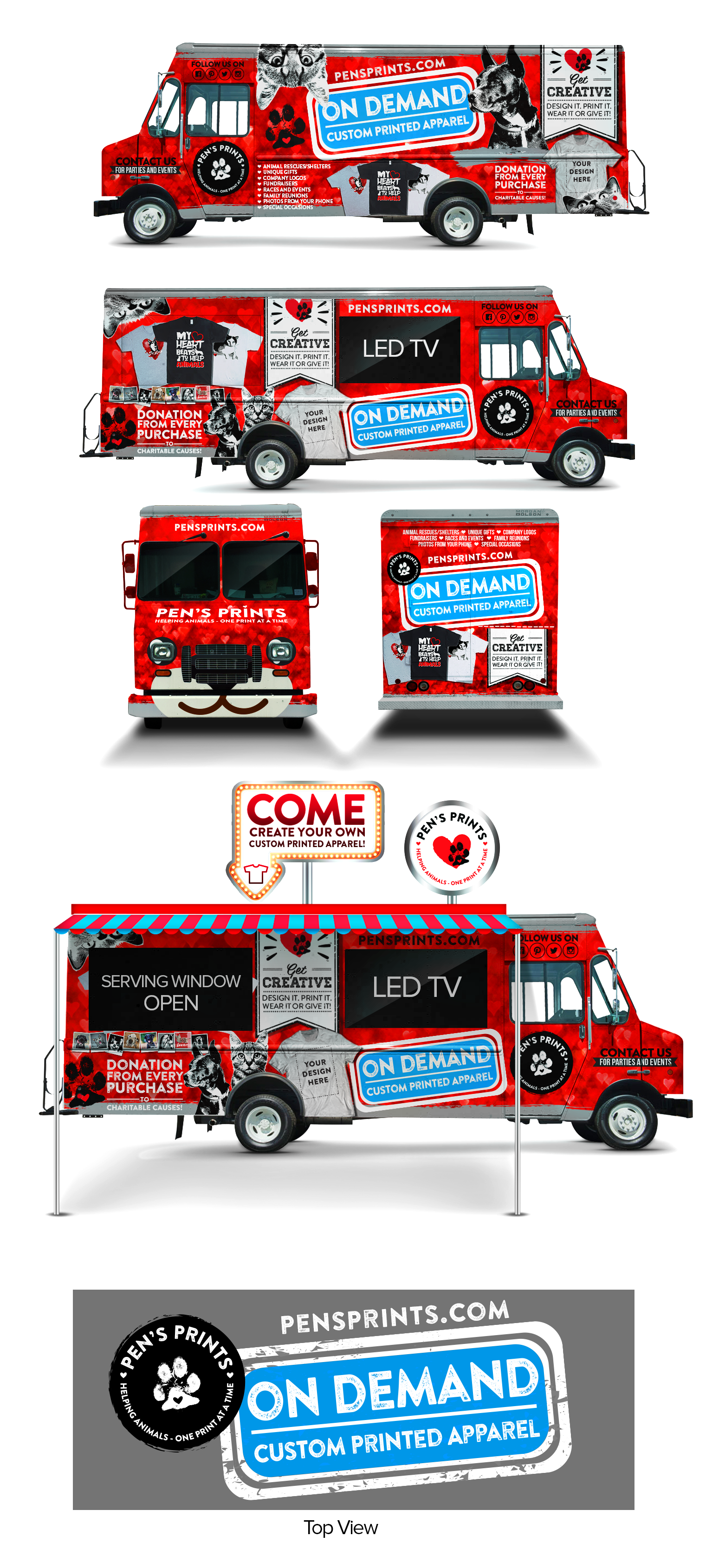 Create a Vehicle Wrap for an On Demand T-Shirt Printing Step Van!