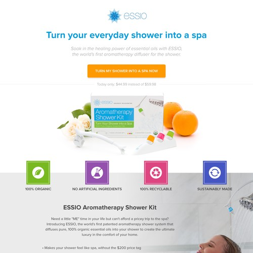 Sales page design for a groundbreaking spa-at-home product