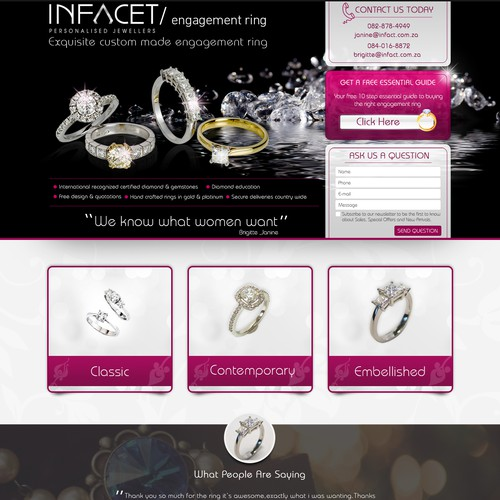 Landing Page Design for Jewellery Website