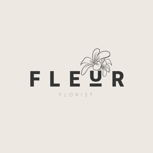 Bold Modern Logo with Floral Sketch