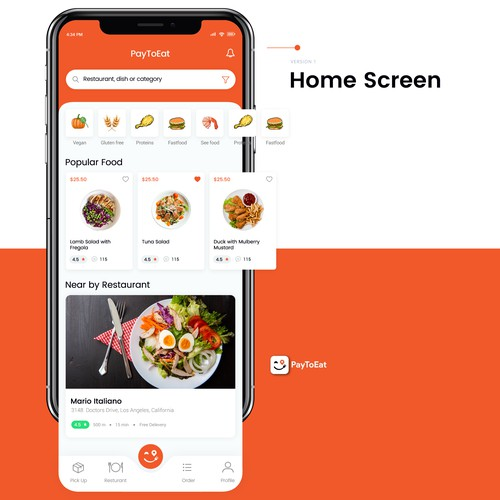iPhone app for pre-order food and drinks