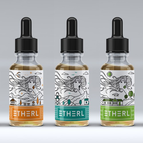 Vape liquid label for Etherl.