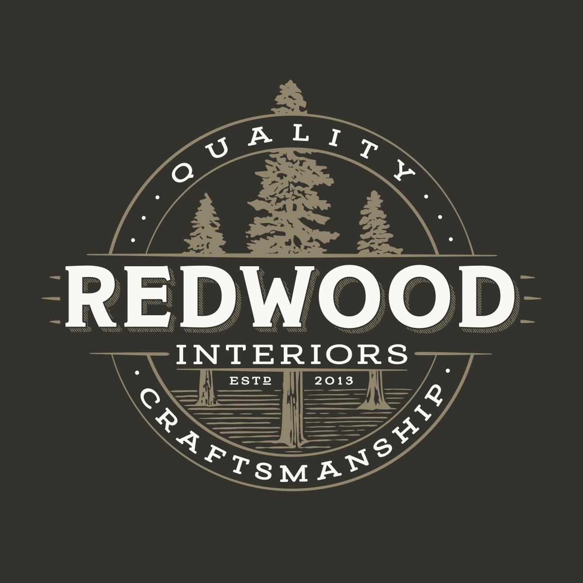 Redwood interiors logo and business card design