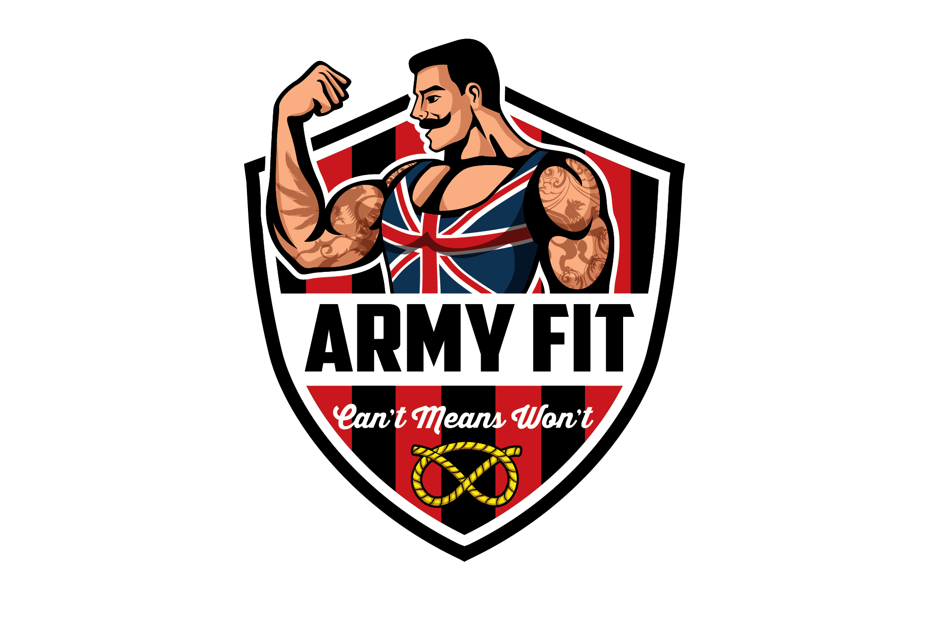 Create a fun old fashioned characature of body builder logo for Army Fit