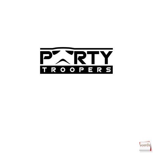 minimalist logo for a business that provide actors dressed as Stormtroopers to individuals and companies for private parties.