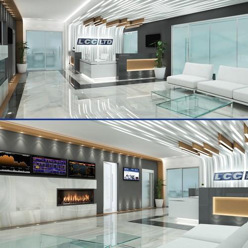 Interior design for office lobby