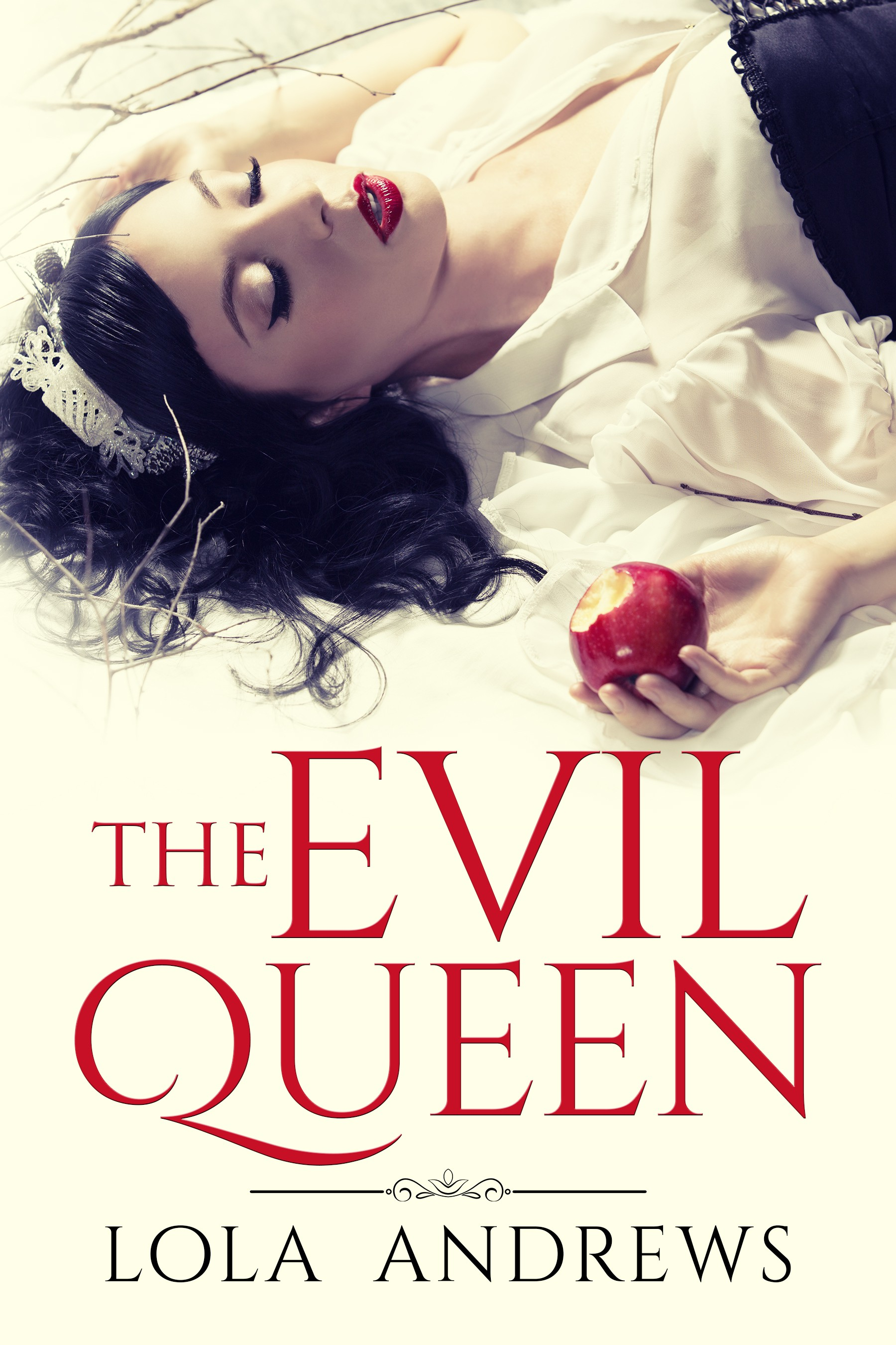 "Create a book cover for lesbian erotic romance retelling of Snow White ""The Evil Queen"""