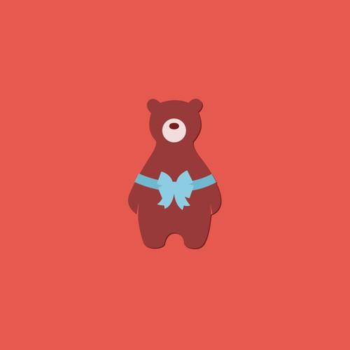 Design a fun brown bear for a children's boutique