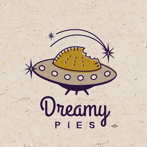 Outer space Logo concept for half moon pies