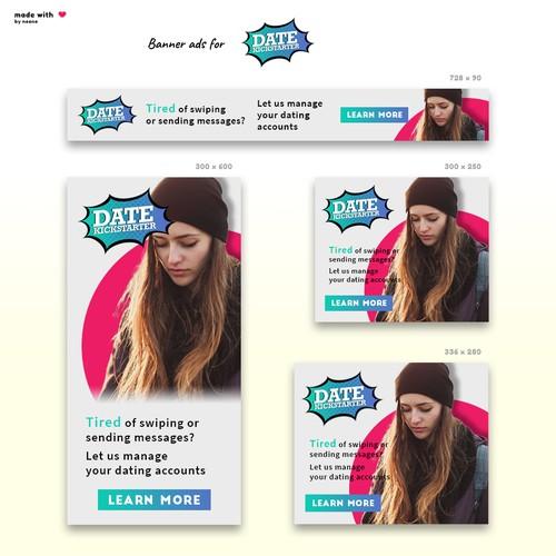 Banner ads for DateKickstarter