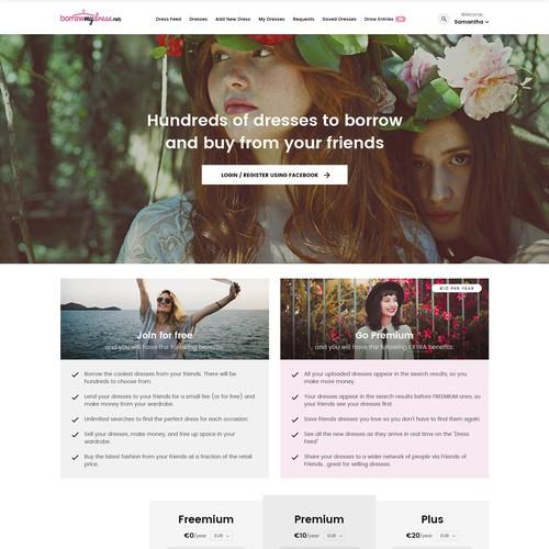 BorrowMyDress web design