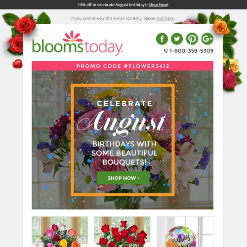 Email design for BloomsToday